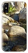 Fan Palm Leaves And Shadows Over Andreas Creek Rocks In Indian Canyons-ca IPhone Case