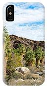 Fan Palms Line The Creek In Andreas Canyon In Indian Canyons-ca IPhone Case