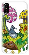 Fanciful Mushroom Nature Doodle IPhone Case