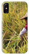 Farmer Harvesting Rice On The Terrace IPhone Case