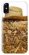 Farmer Hat On Hay Bale IPhone Case