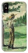 Farmers In Pasture With Trees 1885 Hand Tinted Etching  IPhone Case