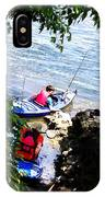 Father And Son Launching Kayaks IPhone Case