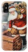 Father Christmas Popping Down The Chimney To Deliver Gifts To The Good.  IPhone Case