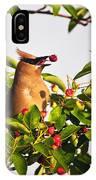 Feeding Cedar Waxwing IPhone Case