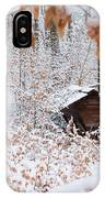 Feeding Site In The Forest In Winter  IPhone Case