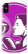 Female Boxer Punch Retro IPhone Case