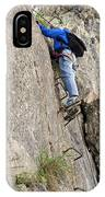 female climber on Via Ferrata IPhone Case