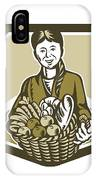 Female Organic Farmer Crop Harvest Woodcut IPhone Case