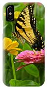 Female Tiger Swallowtail Butterfly With Pink And Yellow Zinnias IPhone Case