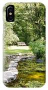 Fernwood Botanical Garden Frog Pond With Bench Niles Michigan Us IPhone Case