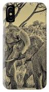 fighting male African elephants IPhone Case
