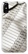 Financial Spreadsheet With Calculator And Glasses IPhone Case