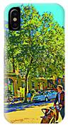 Fine Day For Baby Strollers And Bikes Art Of Montreal Street Scene Across Maitre Gourmet Cafe IPhone Case
