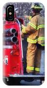 Fireman On Back Of Fire Truck IPhone Case