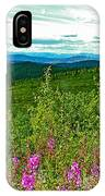 Fireweed And Mountains From Top Of The World Highway-yukon IPhone Case