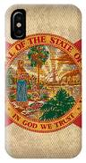 Florida State Flag Art On Worn Canvas IPhone Case