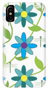 Flower And Dragonfly Design With White Background IPhone Case