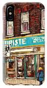 Flower Shop Rue Notre Dame Street Coin Vert Fleuriste Boutique Montreal Winter Stroll Scene IPhone Case