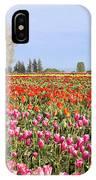 Flowers Blooming In Tulip Field In Springtime IPhone Case