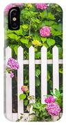 Flowers - Floral - White Picket Fence IPhone Case