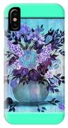Flowers In A Vase With Blue Border IPhone Case