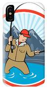 Fly Fisherman Catching Trout Fish Cartoon IPhone Case by Aloysius Patrimonio