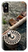 Fly Rod And Reel Detail On Mossy Wet IPhone Case