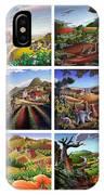 Folk Art Seasonal Seasons Sampler Greetings Rural Country Farm Collection Farms Landscape Scene IPhone Case