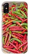Food Market With Fresh Chili Peppers IPhone Case