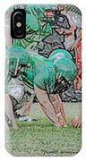 Football Playing Hard 3 Panel Composite Digital Art 01 IPhone Case
