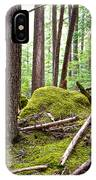 Forest With Moss-covered Rocks Along John's Lake Trail In Glacier Np-mt IPhone Case
