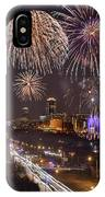 Fort Worth Skyline At Night Fireworks Color Evening Ft. Worth Texas IPhone Case