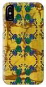 Four Fancy Fiddles Tiled On Gold Batik IPhone Case