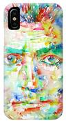 Franz Kafka Watercolor Portrait IPhone Case