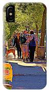 French Bread On Laurier Street Montreal Cafe Scene Sunny Corner With Vente De Garage Sign IPhone Case