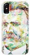 Friedrich Nietzsche Watercolor Portrait IPhone Case