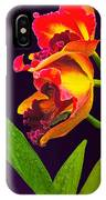 Frilly  Red And Yellow Orchids IPhone Case