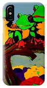 Frog Family Hanging Out On A Limb IPhone Case