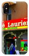 Fruiterie Marche Laurier Butcher Boulangerie De Pain Produits Quebec Market Scenes Carole Spandau  IPhone Case