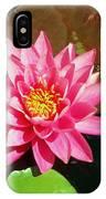 Fuchsia Pink Water Lilly Flower Floating In Pond IPhone Case