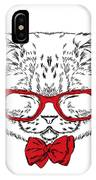 Funny Cat In A Tie And Glasses. Vector IPhone Case