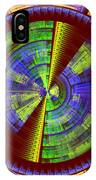 Futuristic Tech Disc Red Green And Yellow Fractal Flame IPhone Case