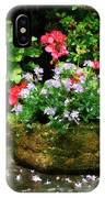 Geraniums And Lavender Flowers On Stone Steps IPhone Case