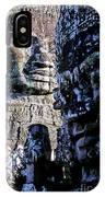Gigantic Face Statues At Khmer Temple Angkor Wat Ruins Cambodi IPhone Case