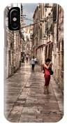 Girl In Red In The White Streets Of Dubrovnik IPhone Case