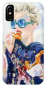 Girl With Glasses Eating Pretzel - Oil Portrait IPhone Case