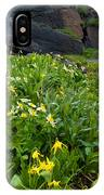Glacier Lilies And Globeflower Beside A Mountain Stream IPhone Case