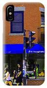 Going Places La Baguette Doree French Pastry Shop Busy Quebec Mont Royal City Scene Carole Spandau IPhone Case