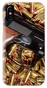 Gold 9mm Beretta With Brass Ammo IPhone Case